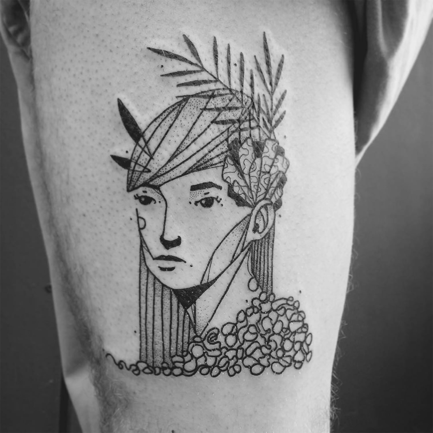 woman with reef, line art tattoo