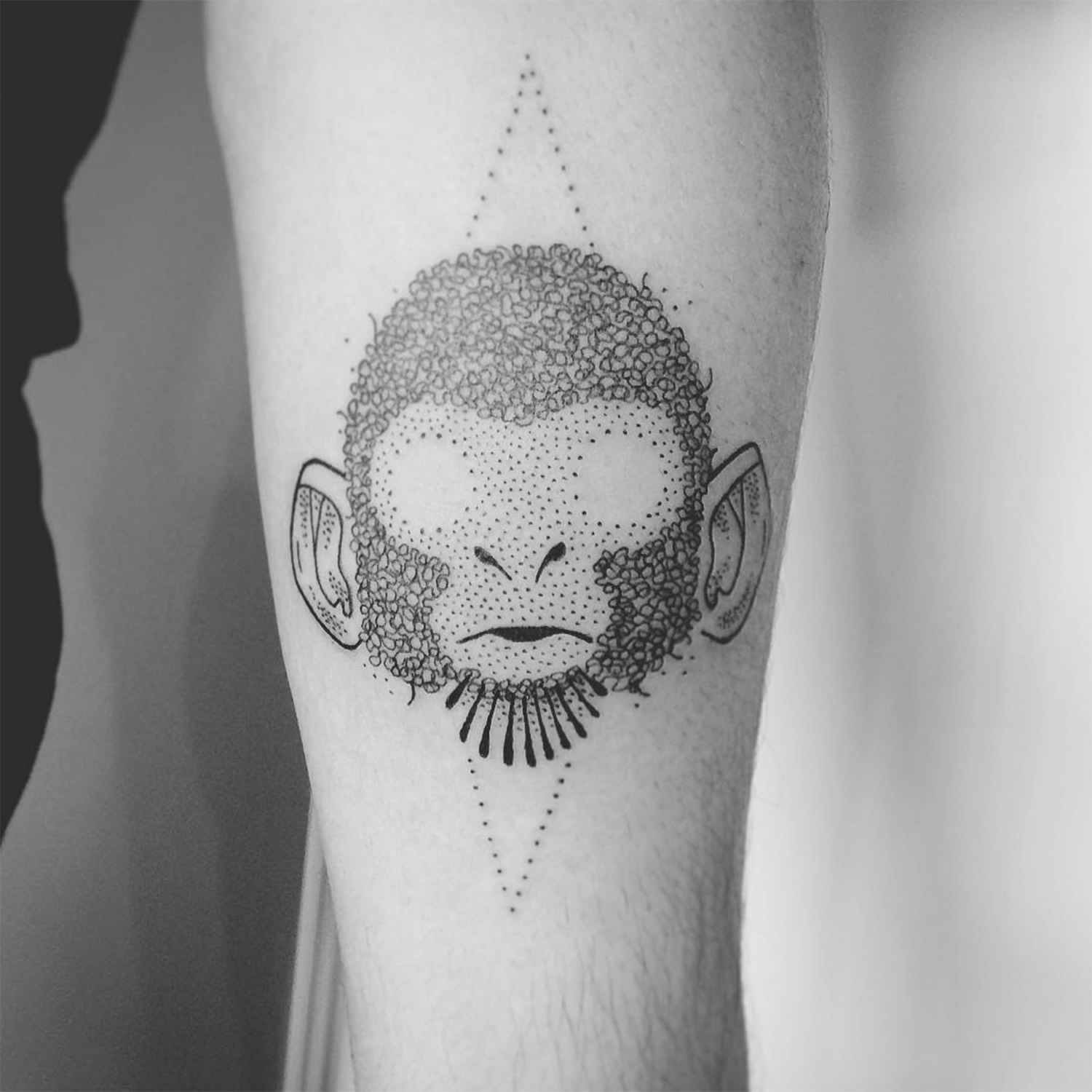 blind monkey, dotwork tattoo
