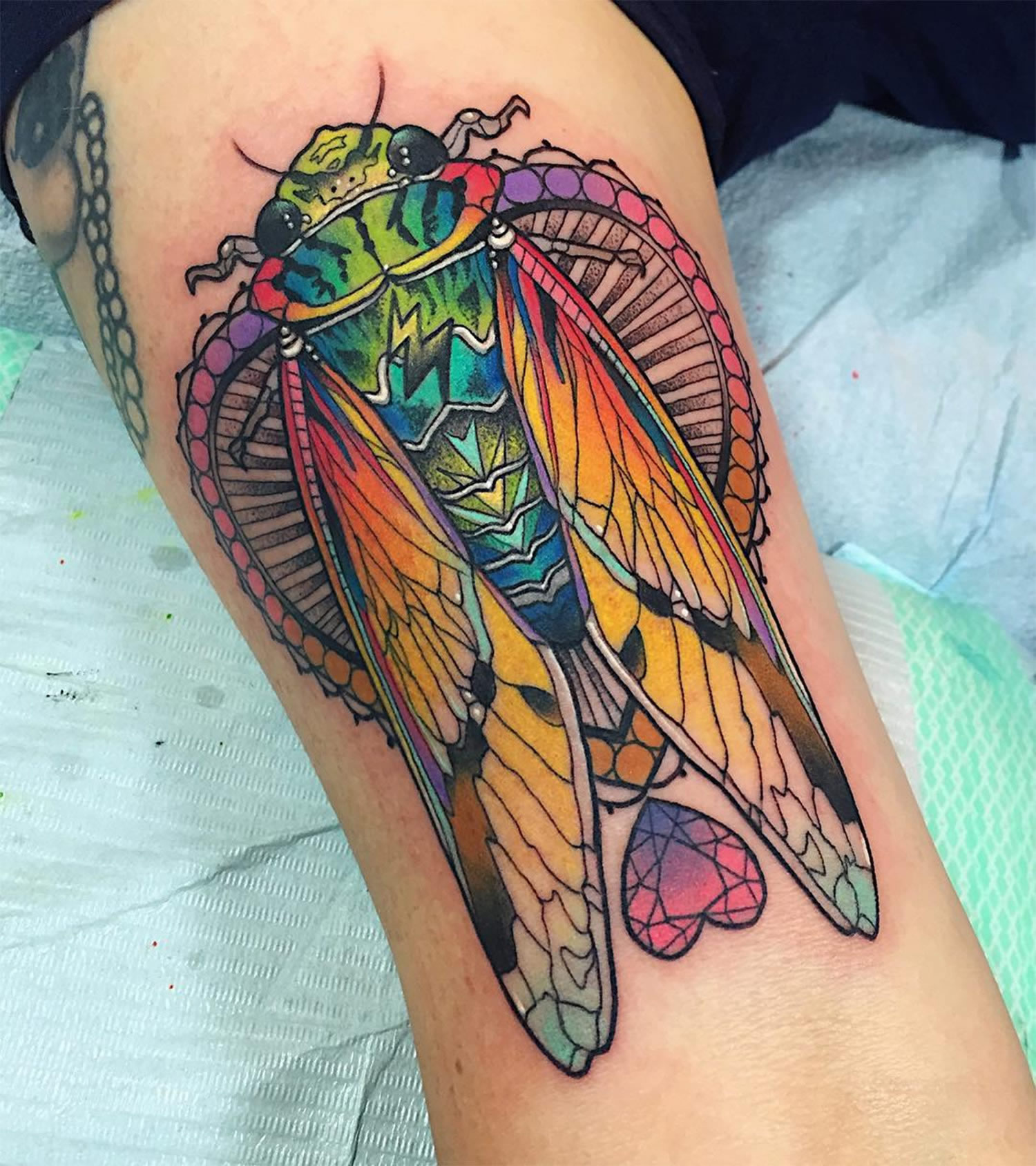 rainbow moth tattoo
