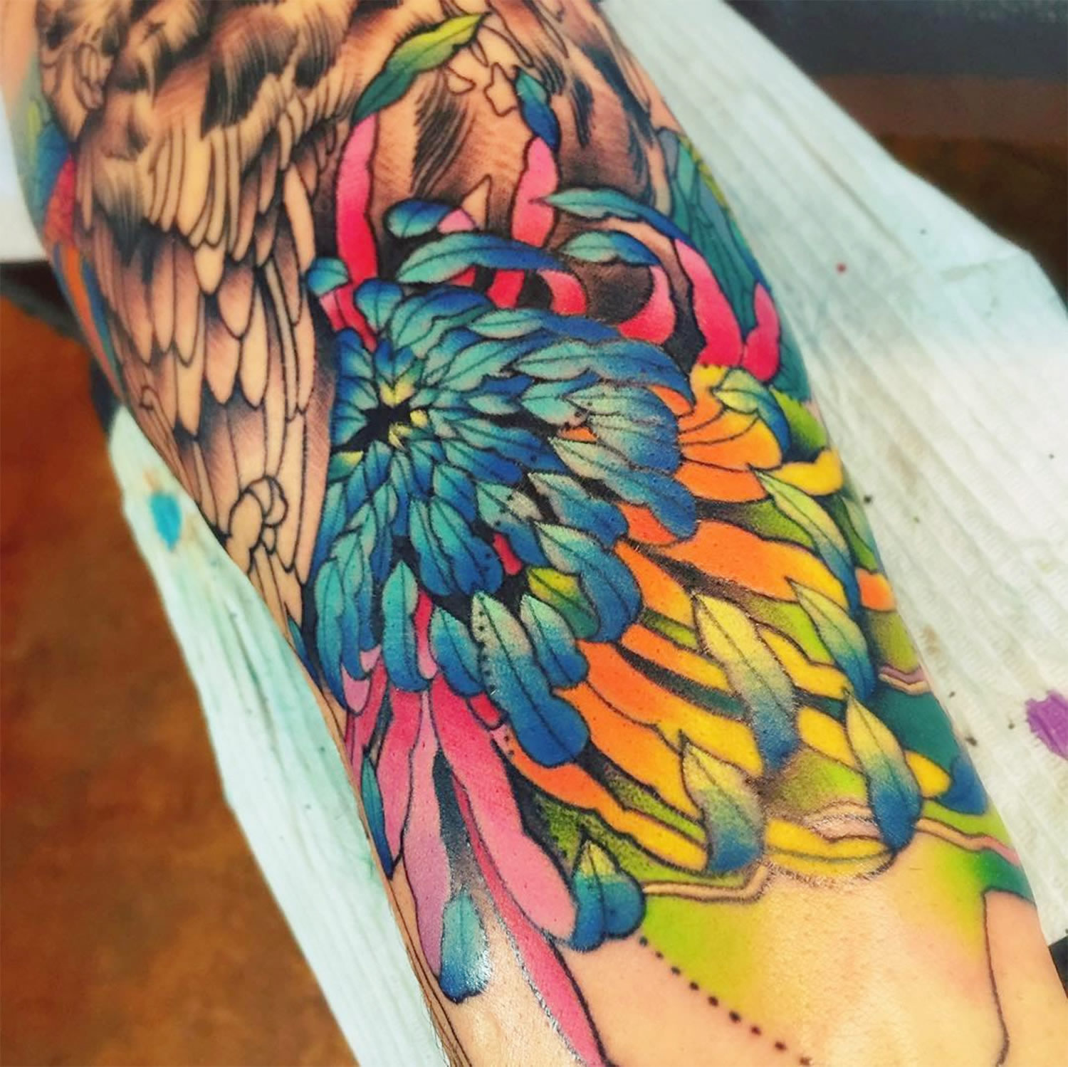 closeup of tattoo, feathers