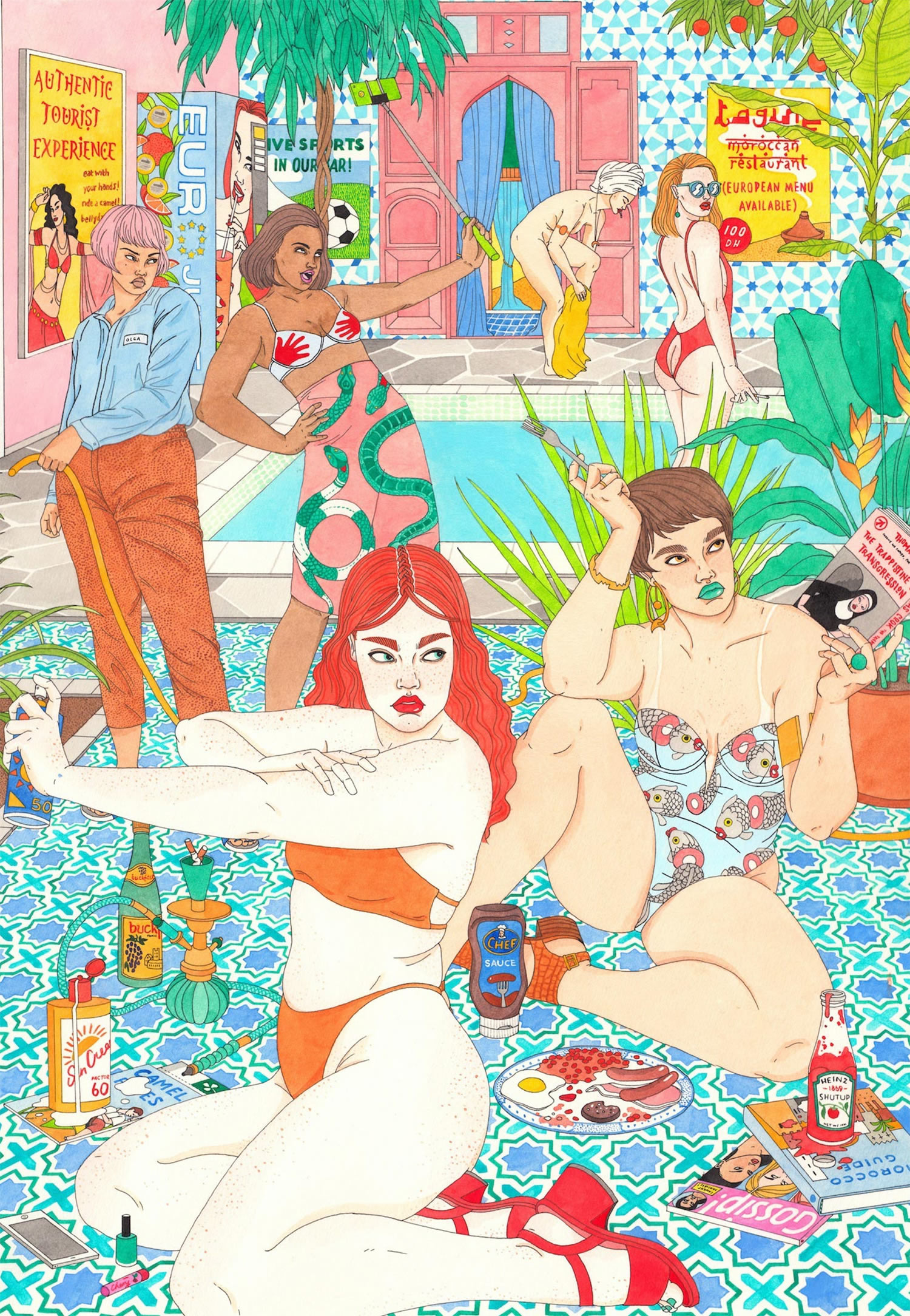 Women by a pool by Laura Callaghan