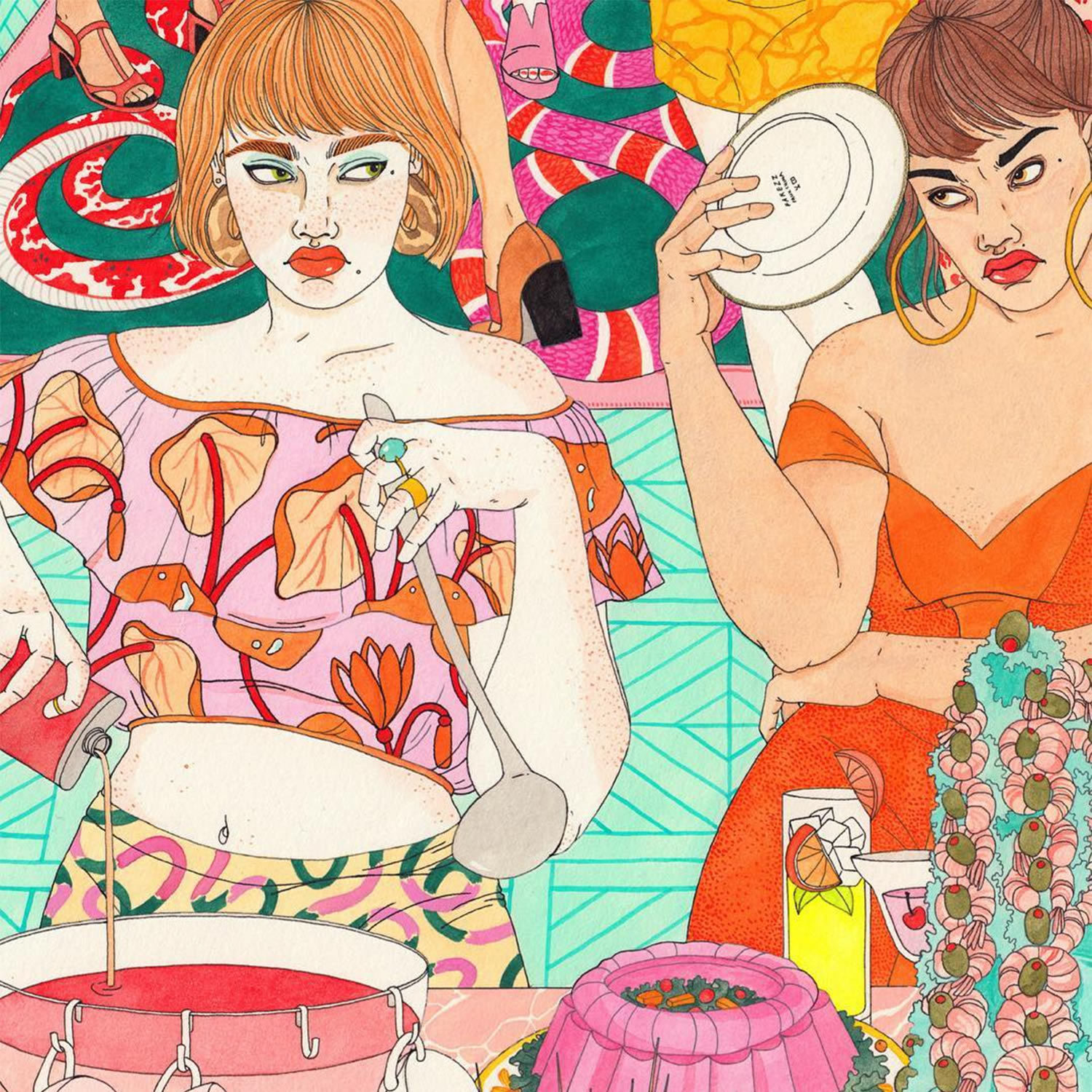 party, dinner, posing and making faces, illustration