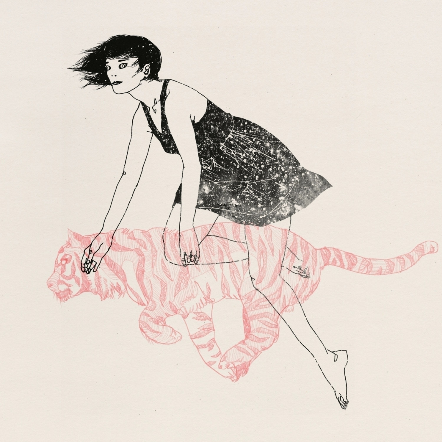 Lu Cong, illustration and watercolor - woman and tiger