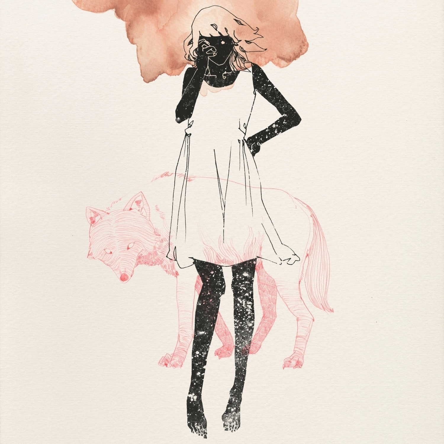Lu Cong, illustration and watercolor - woman and wolf