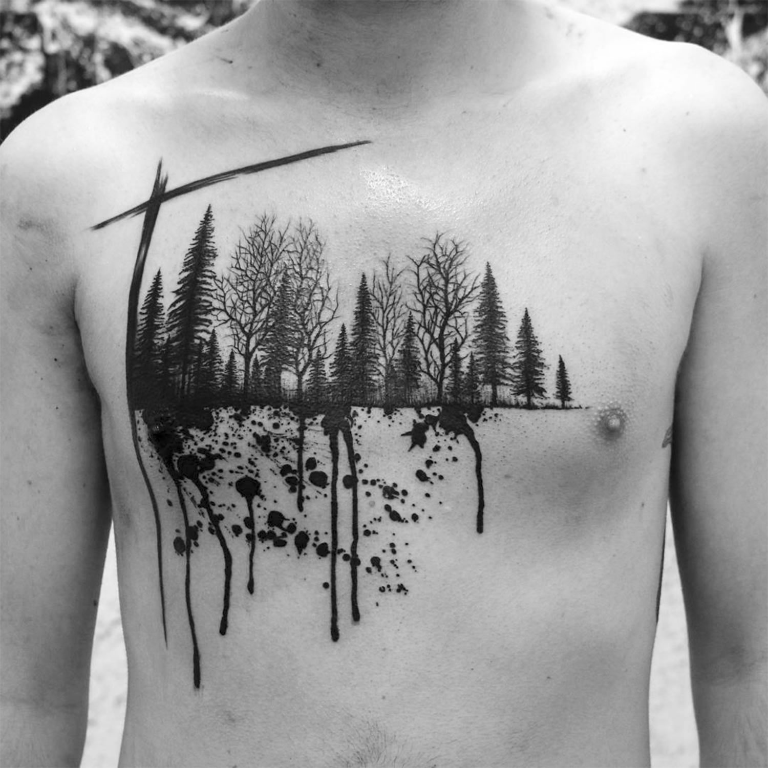 nature scene on chest by by Marian Merl, paint drips, black ink