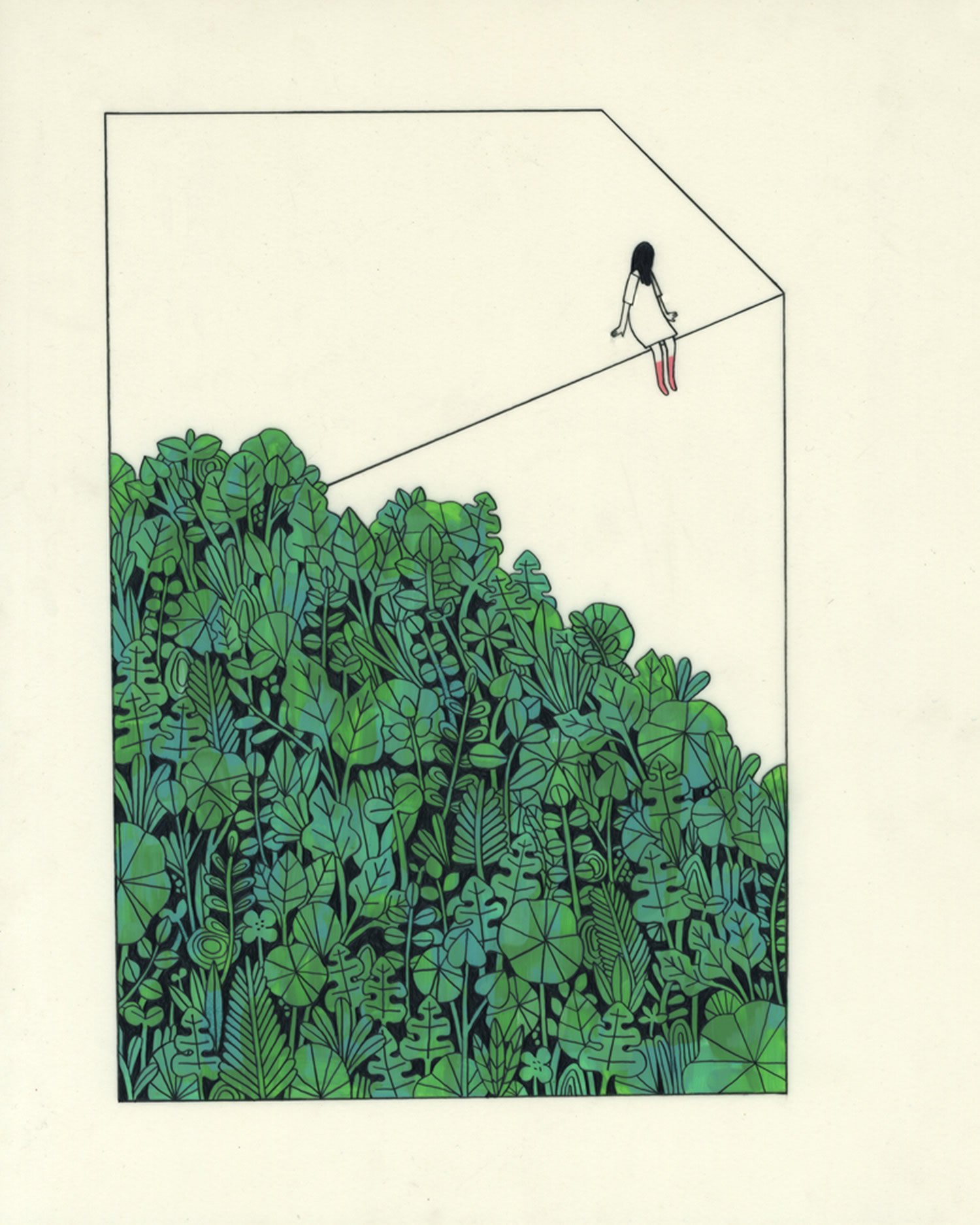girl on rope, plants, illustration