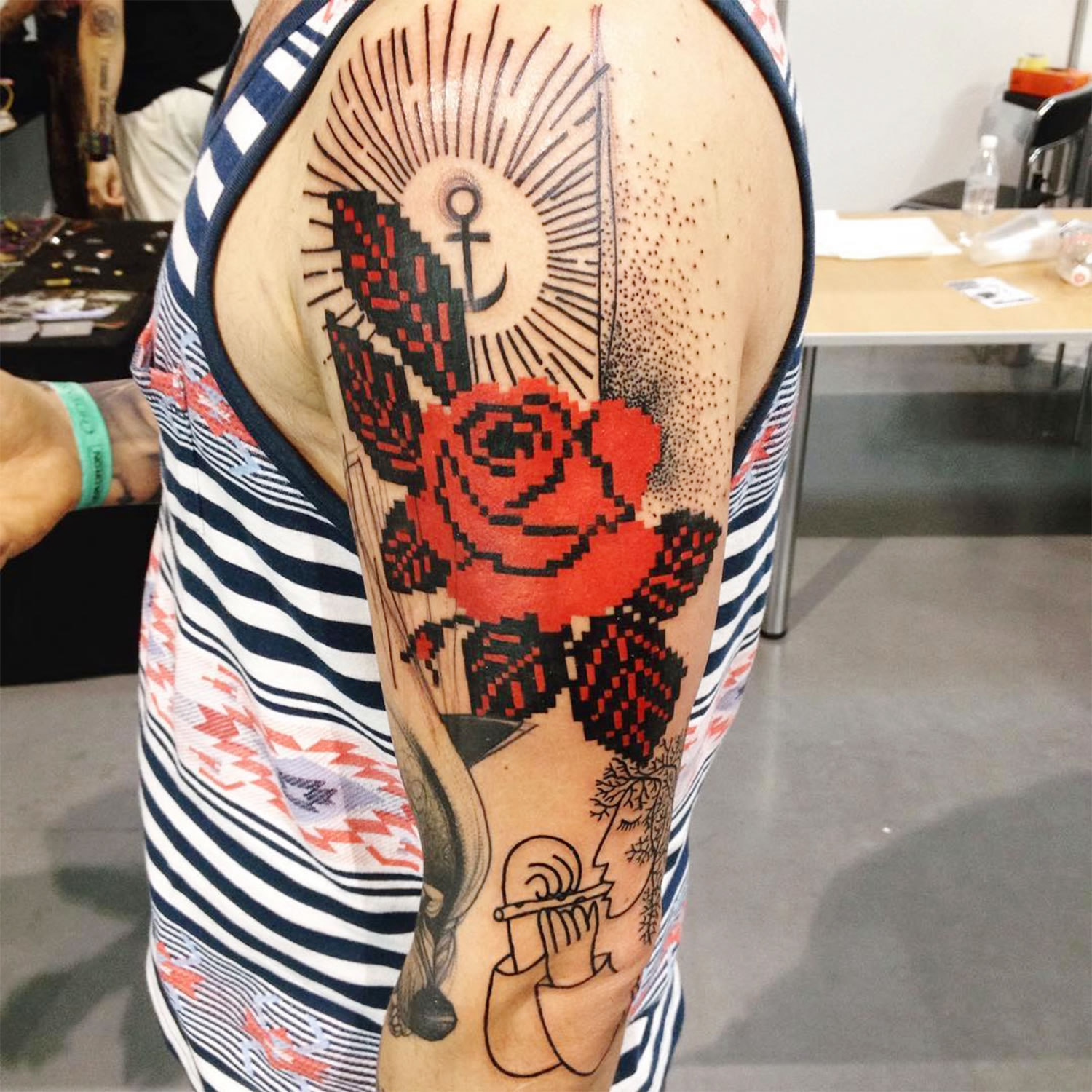 red rose, embroidery style tattoo