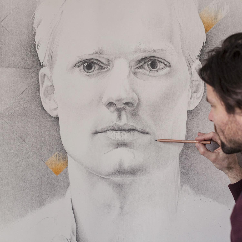 portrait art, Symmetry part I&II Drawing by Daan Noppen