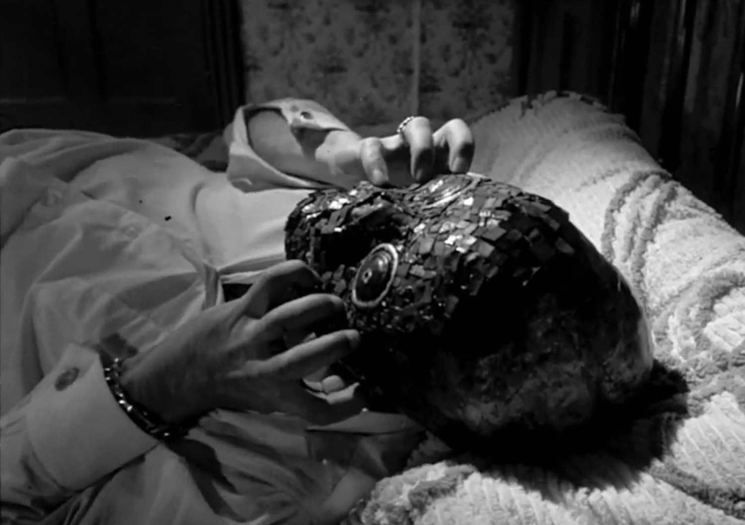 Canadian Horror Films - The Mask 1961, wearing mask