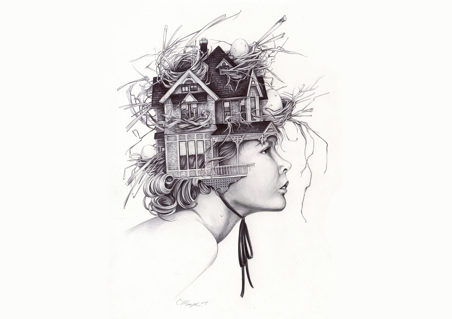 surreal portrait with a girl as a house by christina mrozik