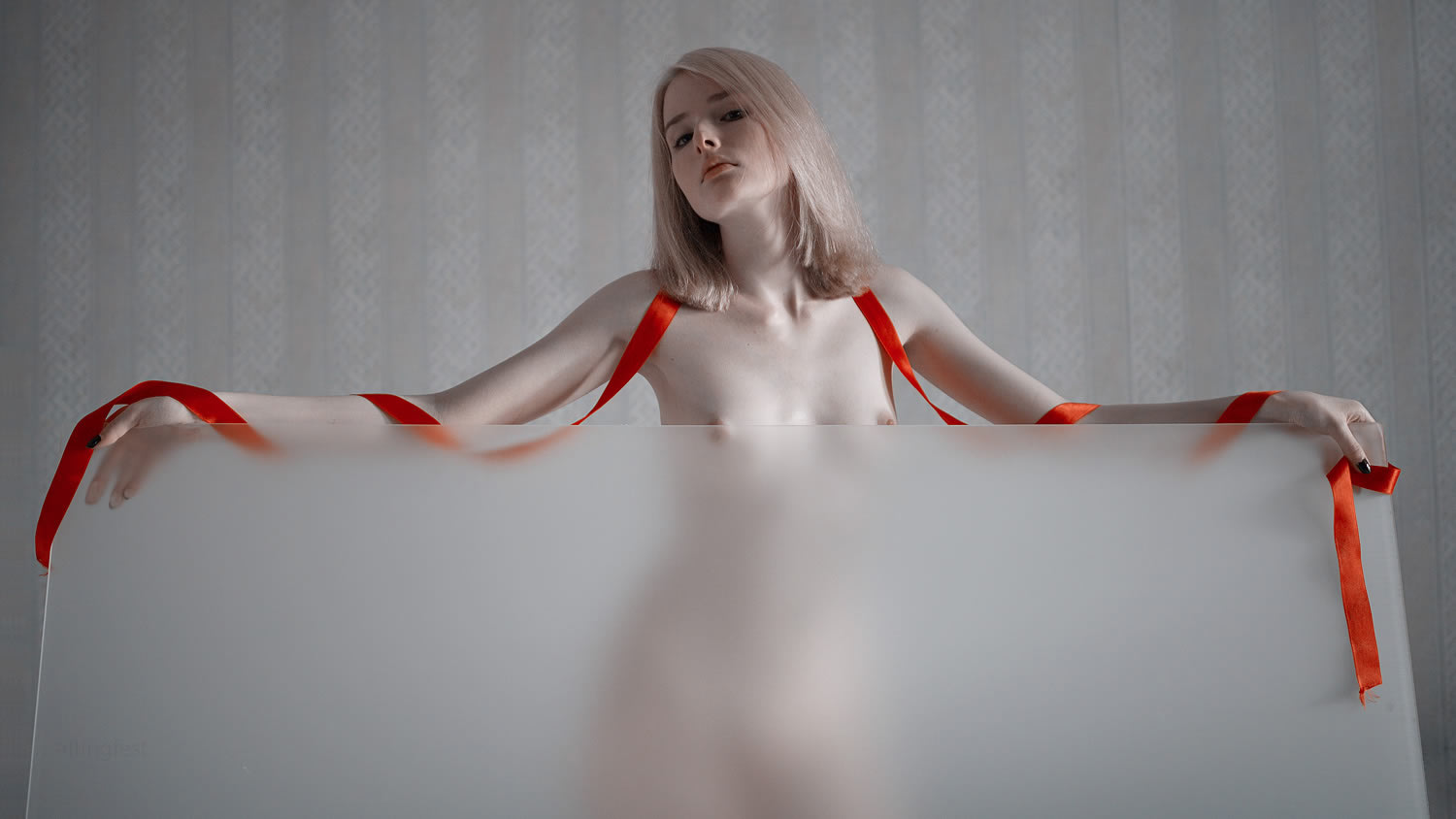 red lace over shoulders, nude portrait