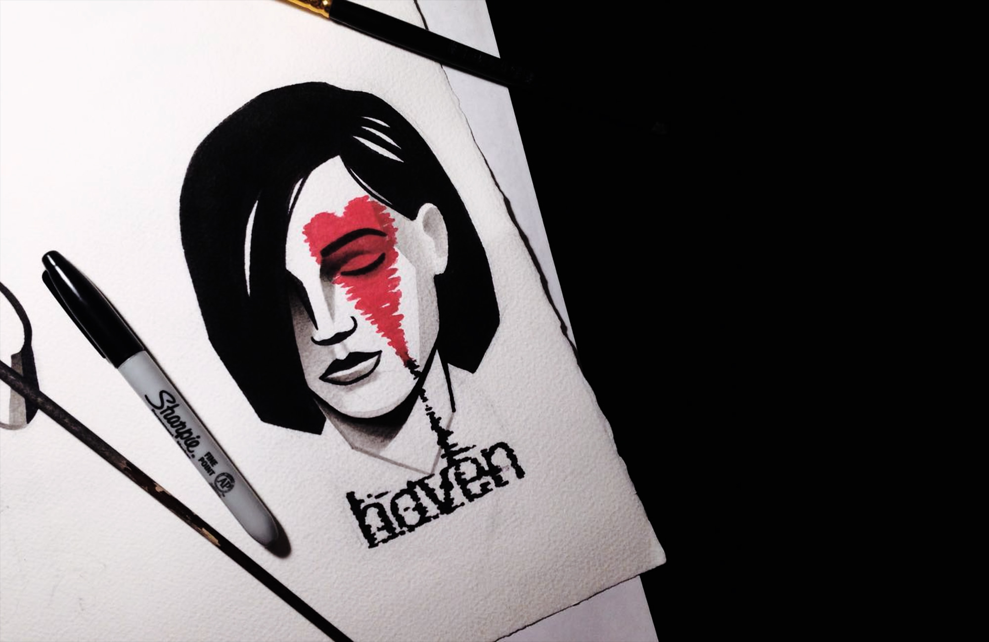 Black-Ink Portraits Accented with a Hint of Red by Denis Marakhin