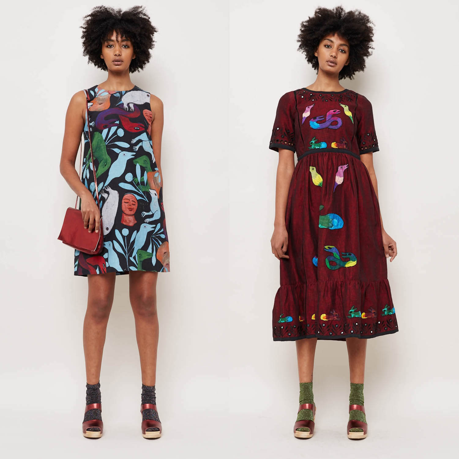 dresses painted by Mirka Mora and produced by Gorman