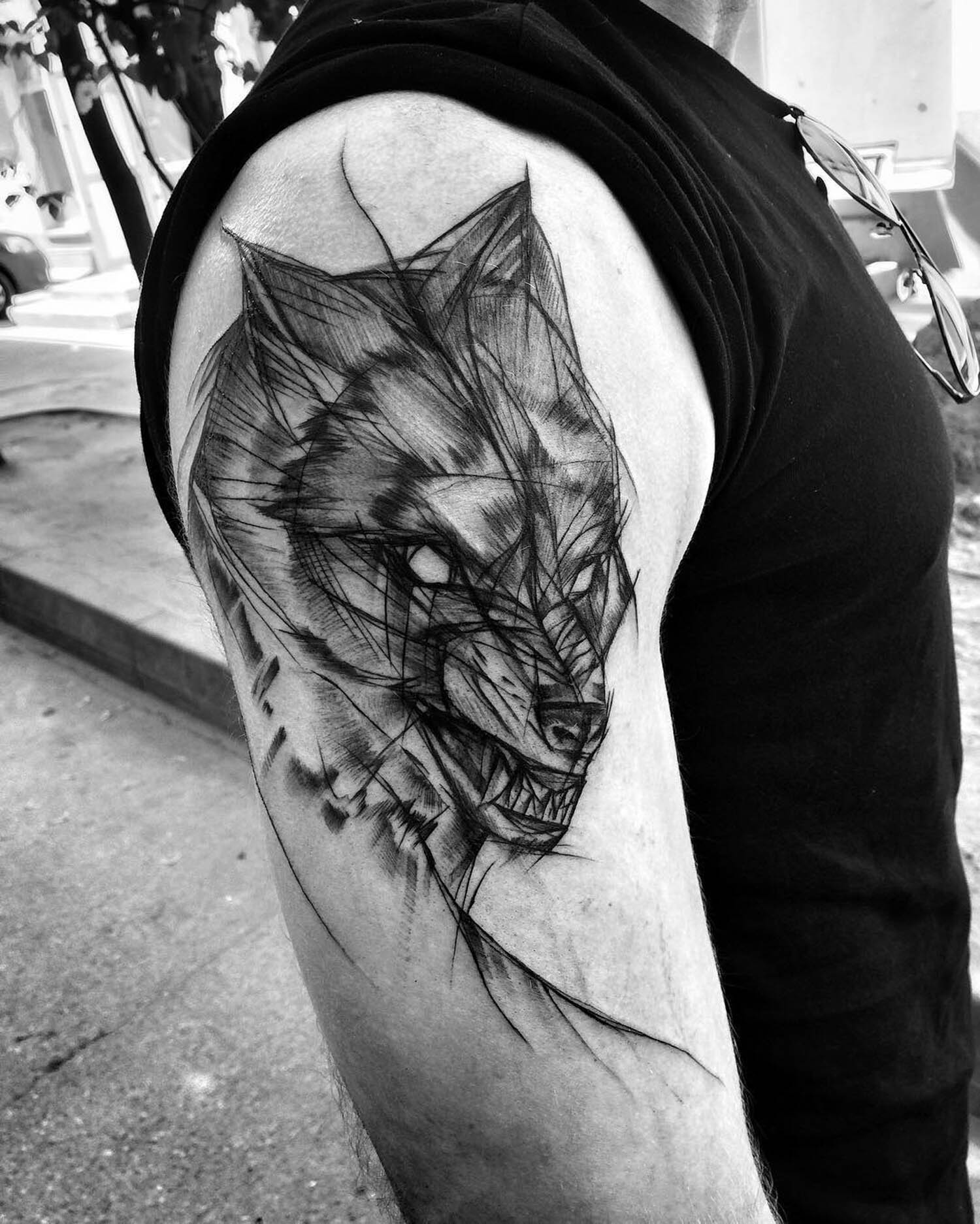wolf tattoo by inez janiak