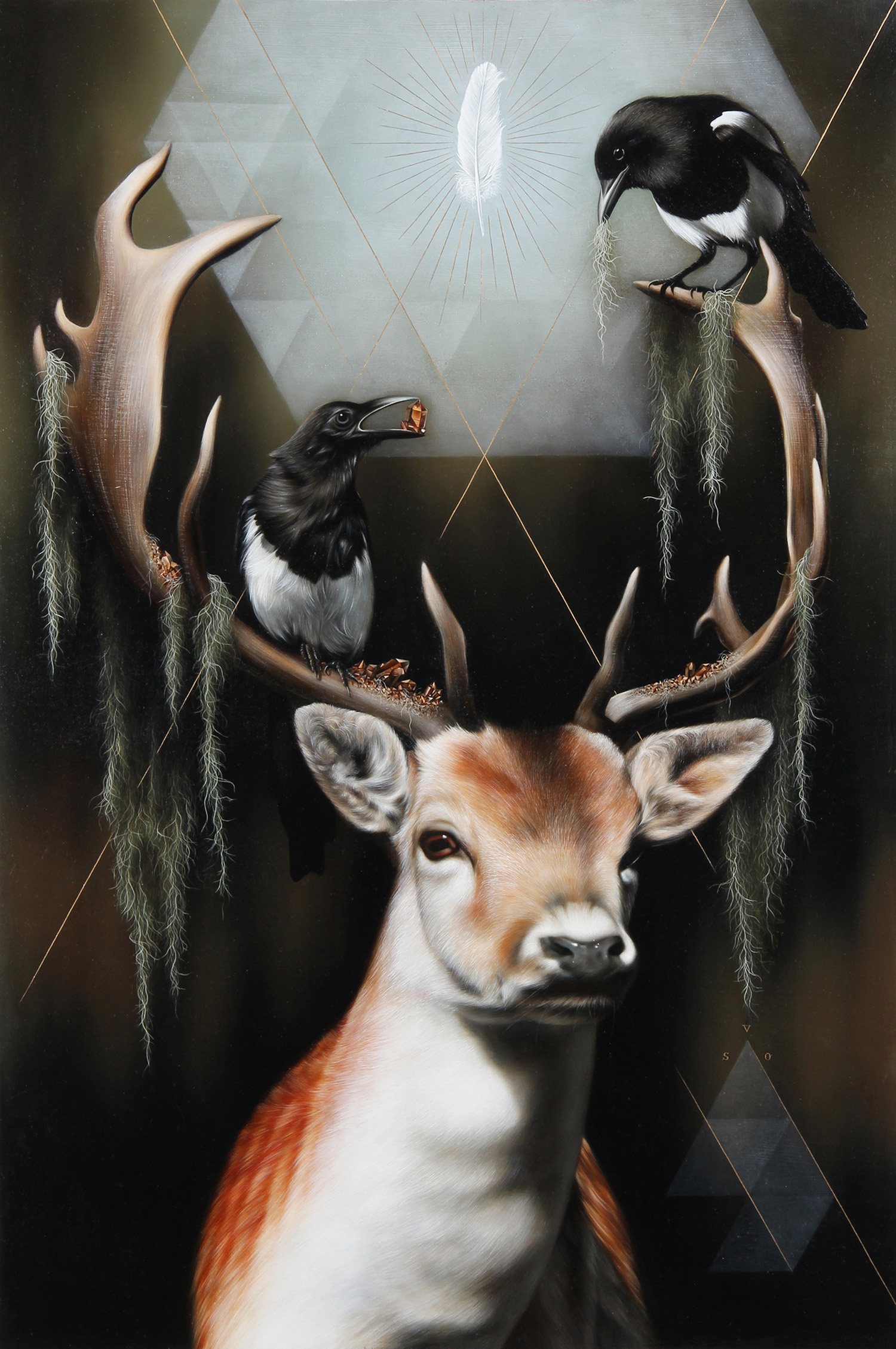Josie Morway - deer and magpies