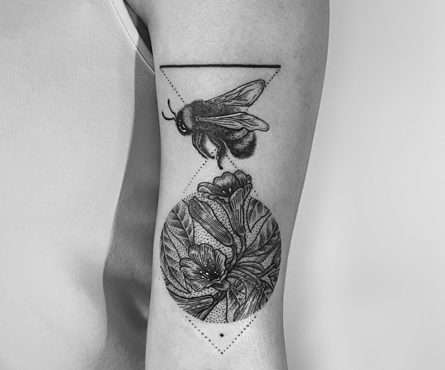 bumblebee and flowers, tattoo on arm