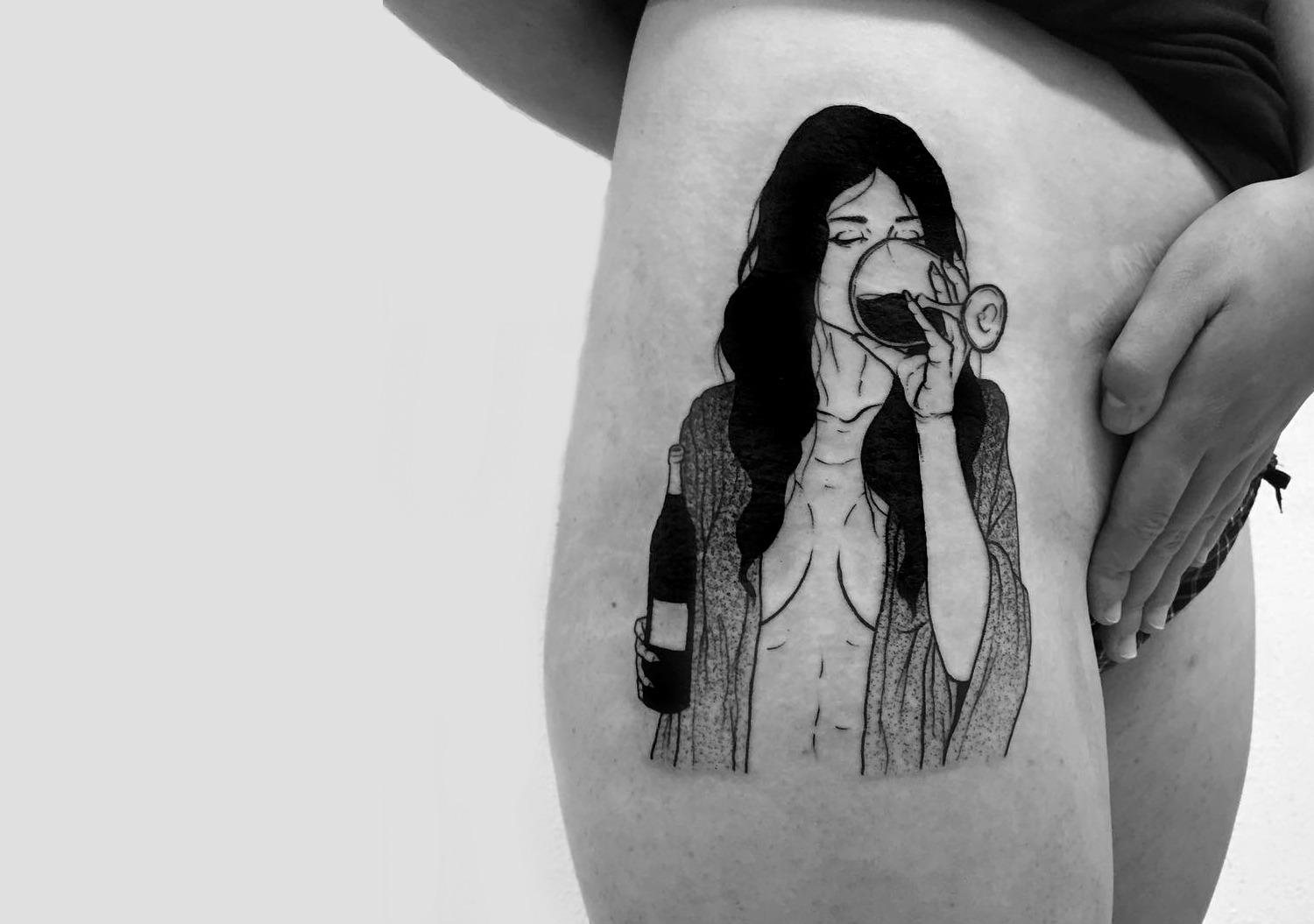 Woman drinking wine tattoo by Sad Amish Tattooer
