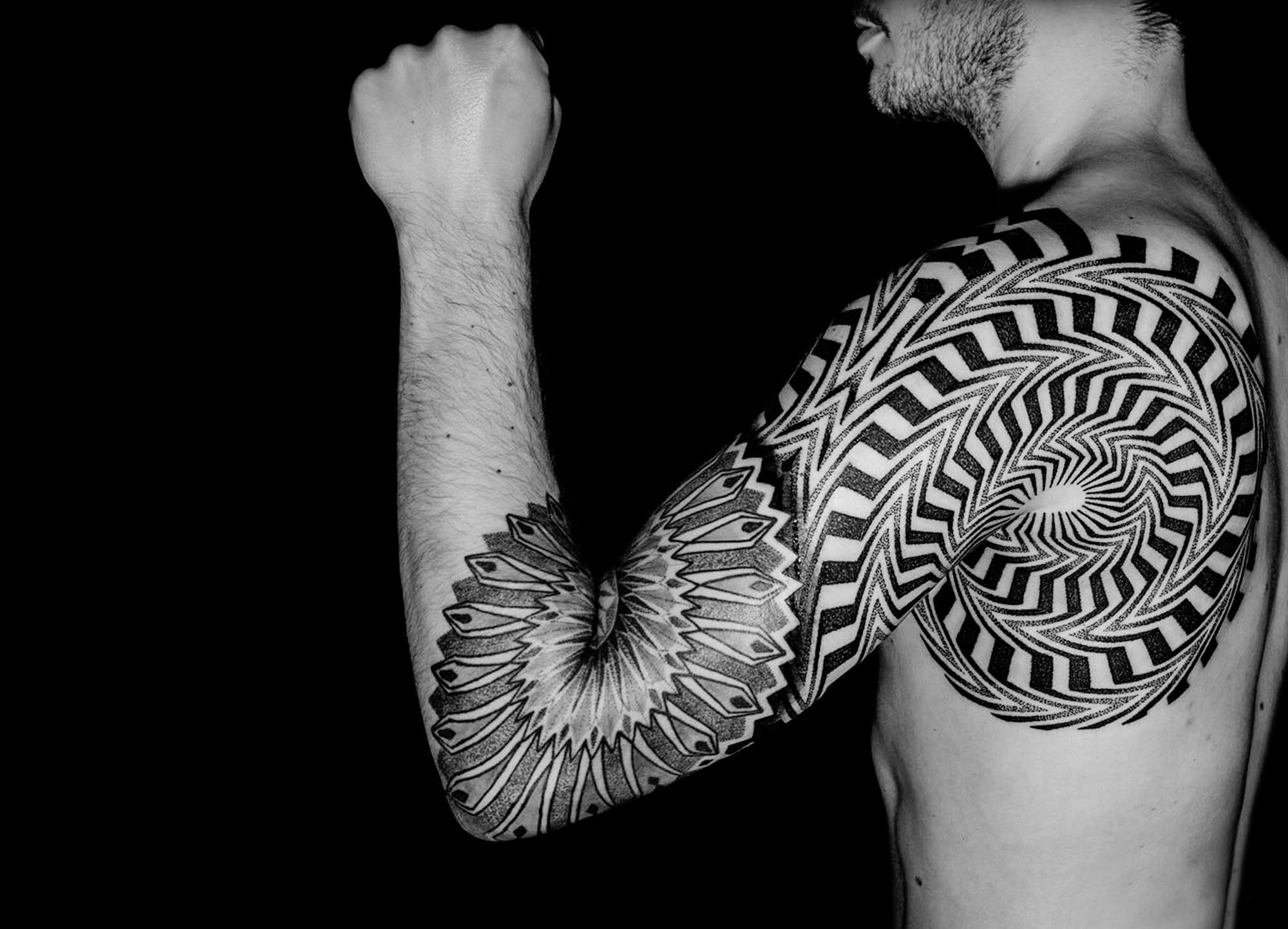 op art tattoo, motion tattoo by lewis ink