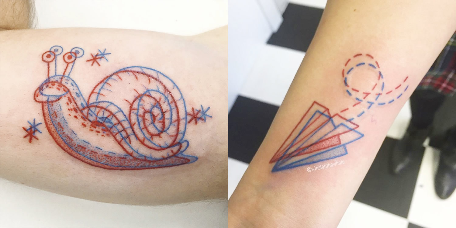 snail and paper plane, motion tattoos by dave winston the whale