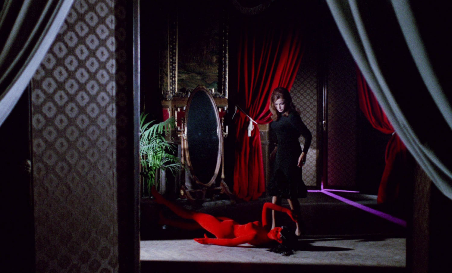 curtains and red mannequin, blood and black lace