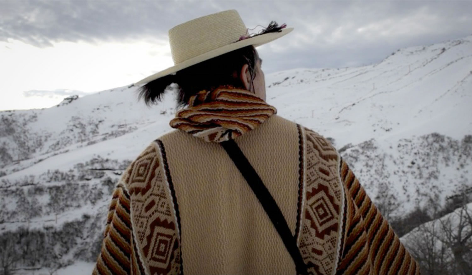 man with hat and scarf, mountains, further beyond movie