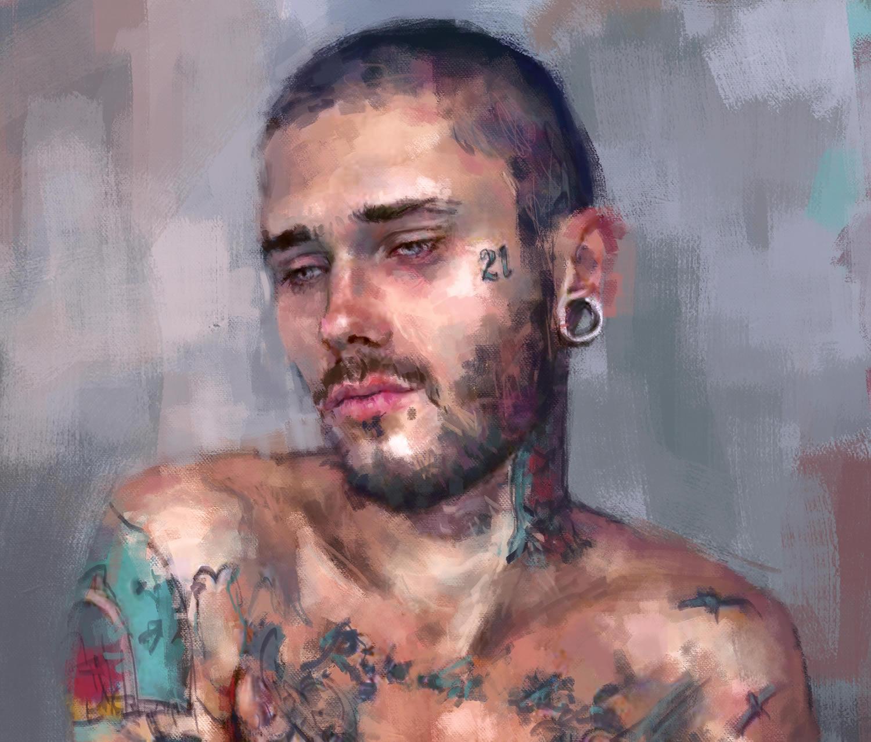 tattooed man, portrait