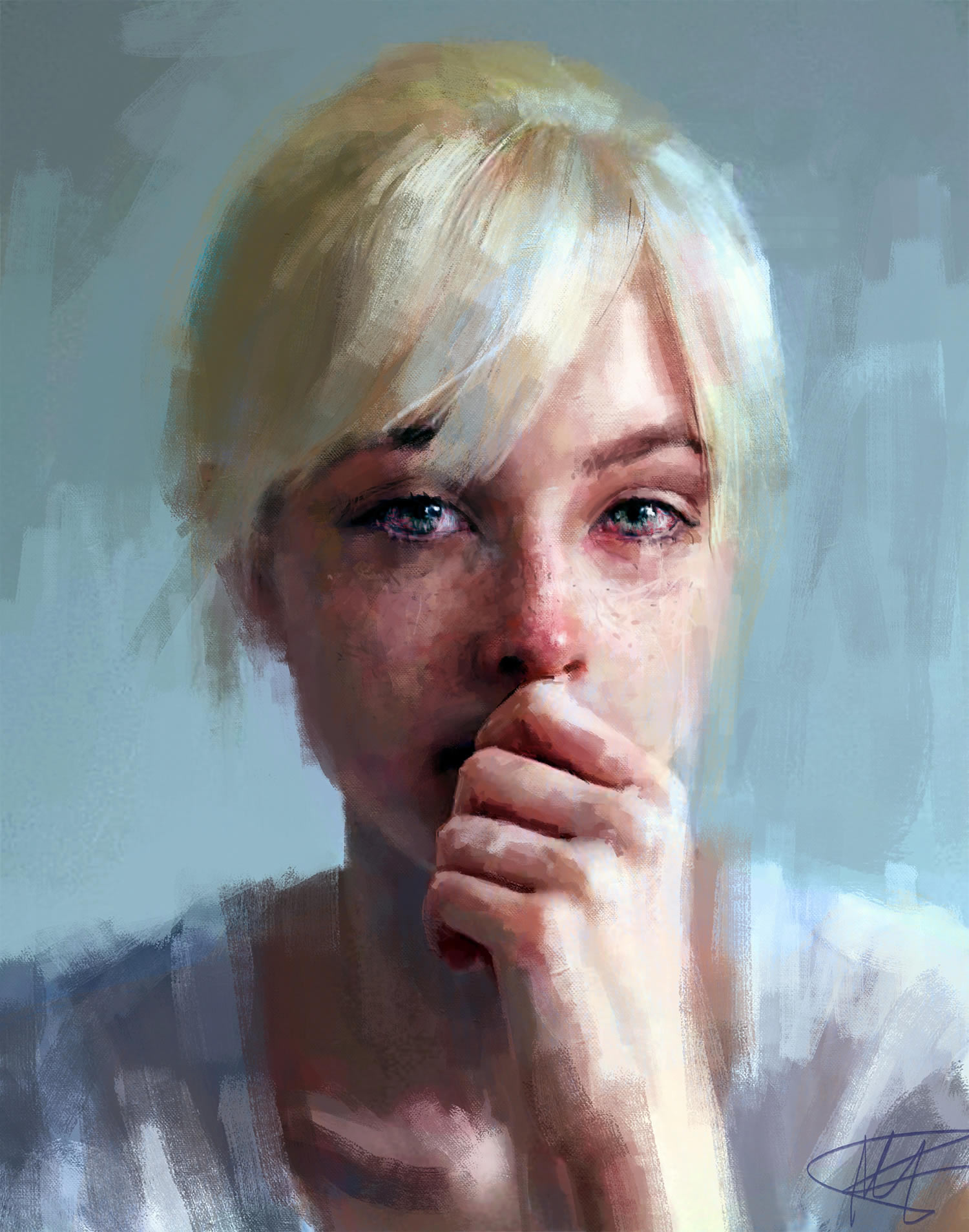 blonde woman crying, digital painting