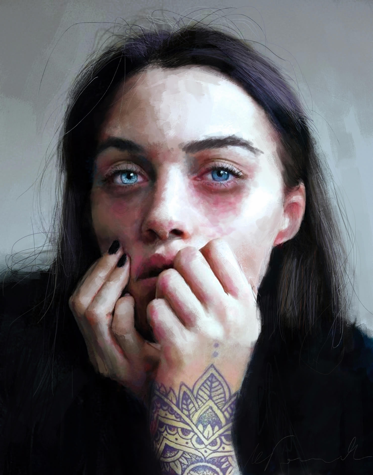 girl with bright blue eyes, digital painting