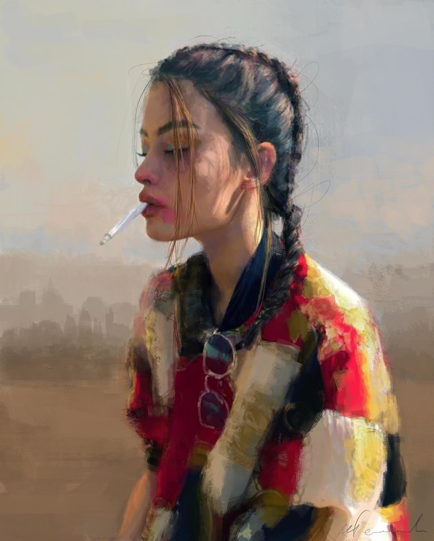 girl smoking, sunset, portrait
