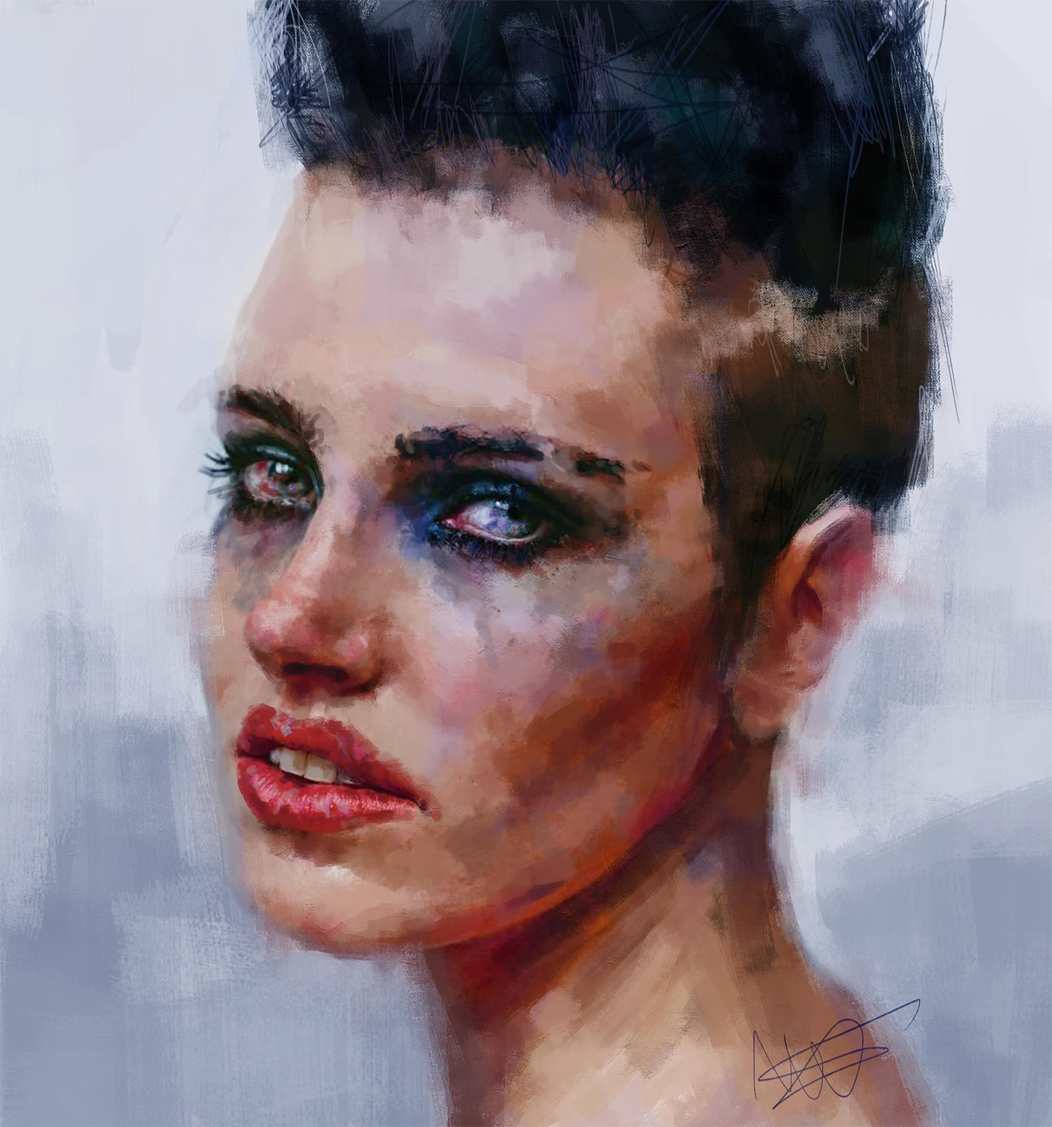 woman with short hair crying, digital painting
