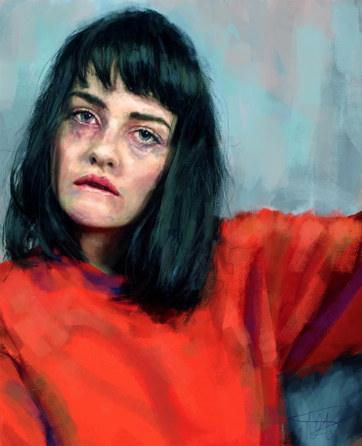 young woman portrait, red sweater