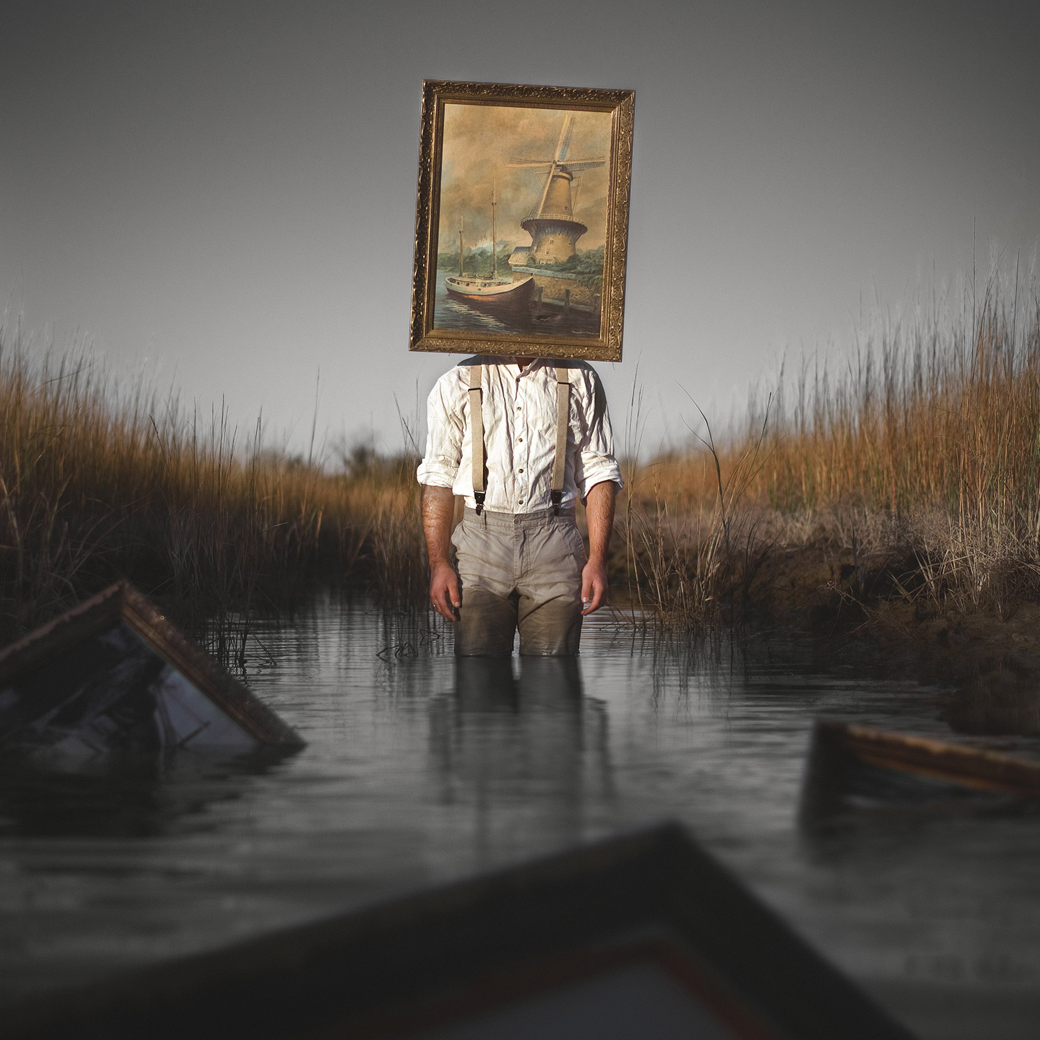 Nicolas Bruno - painting covering face