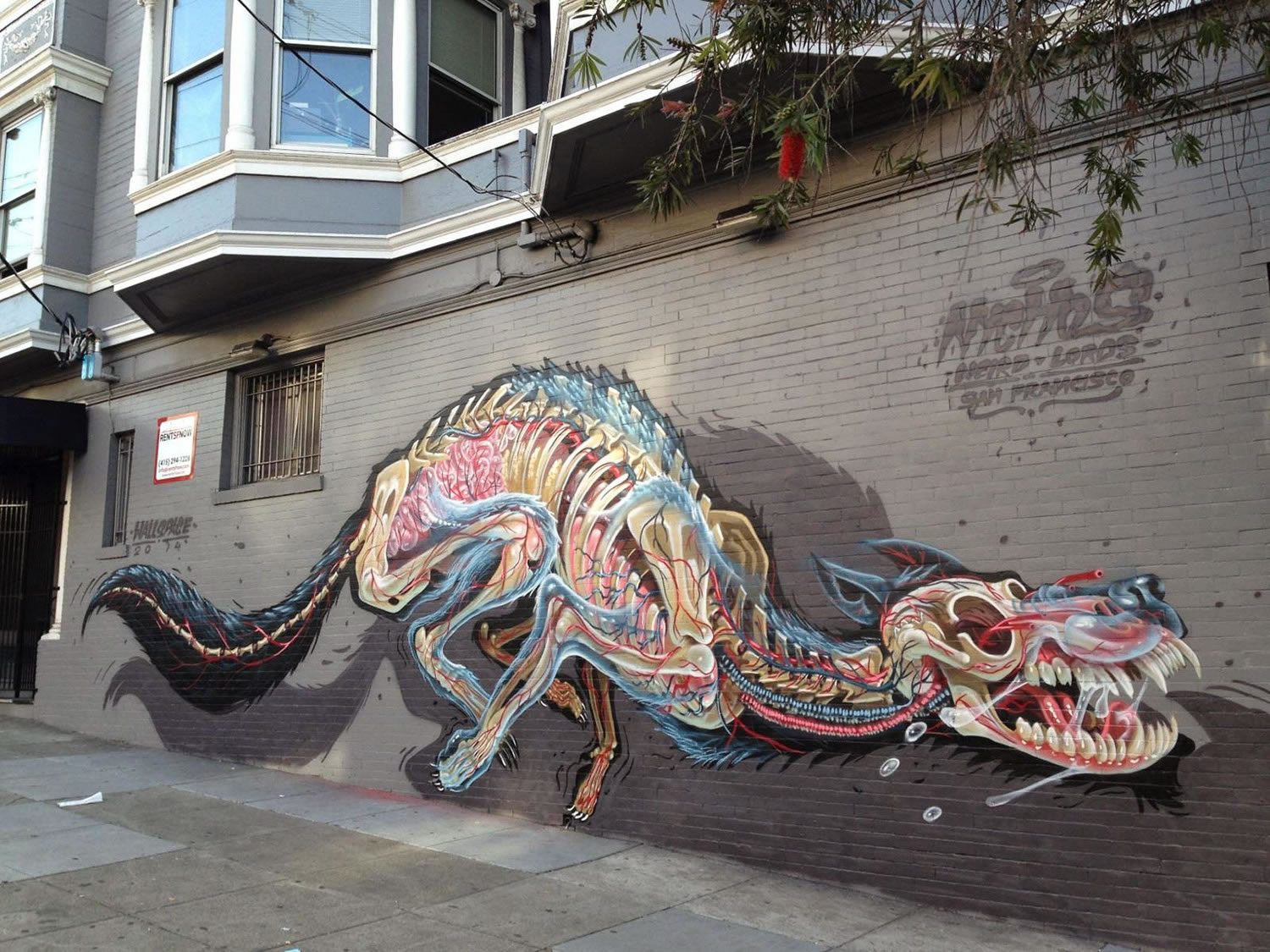 creature, skeleton, mural