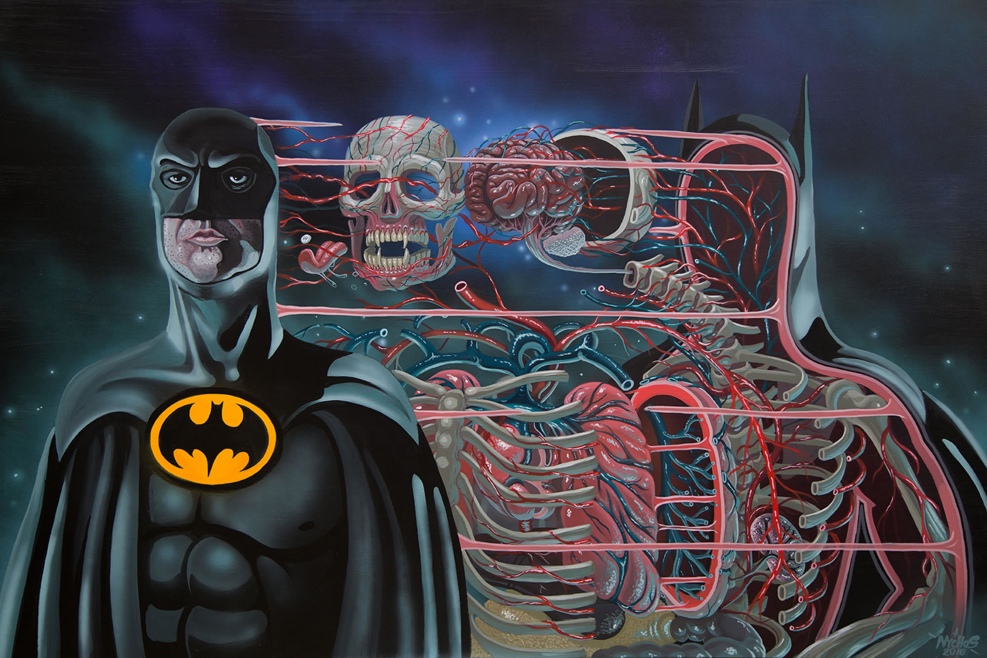 batman dissected, painting