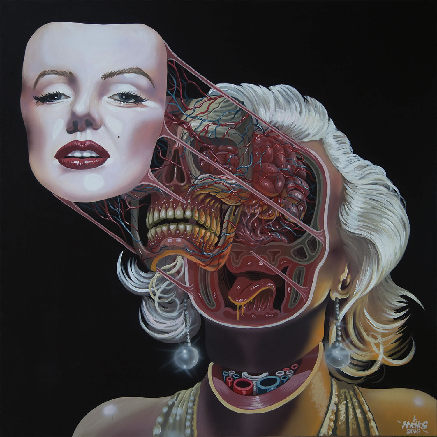 marilyn monroe, dissected, painting
