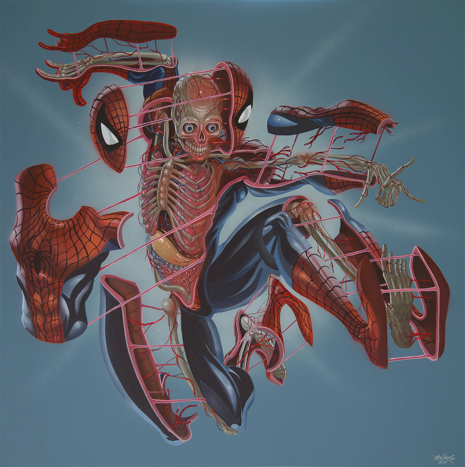 spiderman, dissected, painting