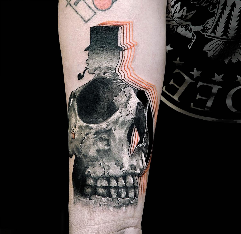 gentleman skull tattoo by Chris Rigoni