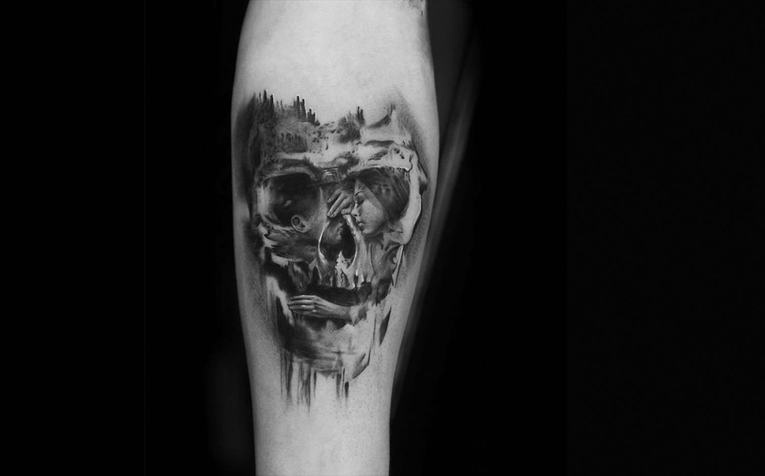optical illusion skull tattoo by niki norberg