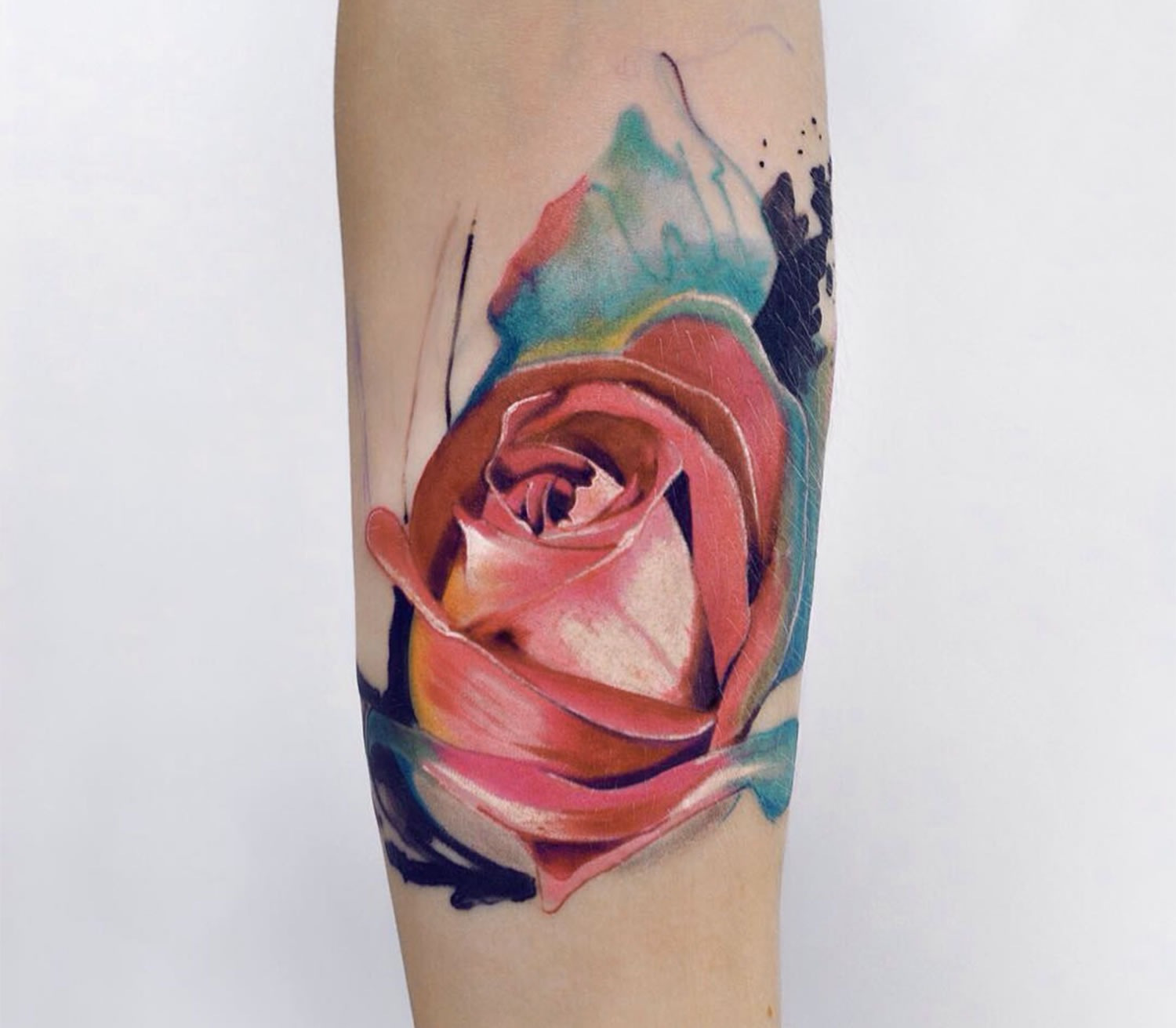 rose tattoo, painterly style