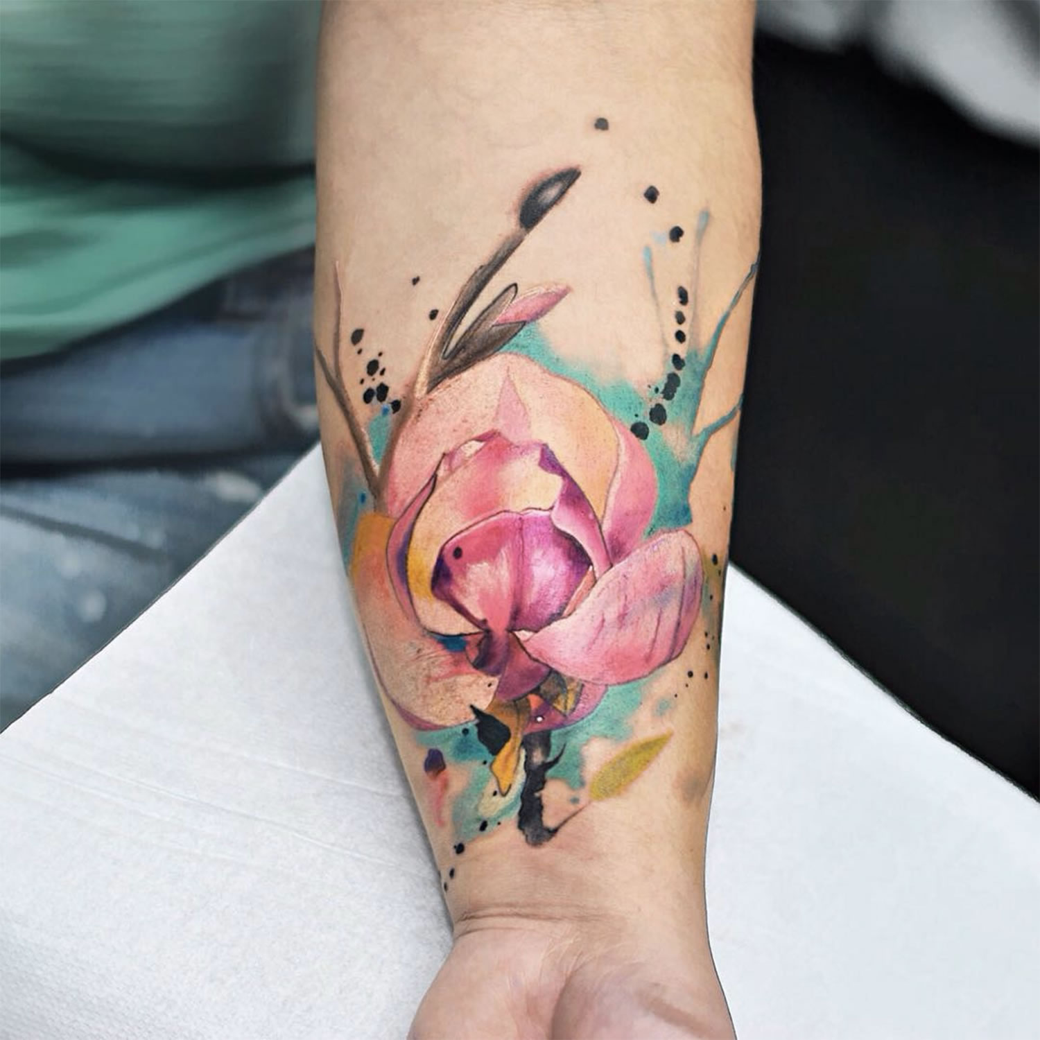 flower tattoo, watercolor style