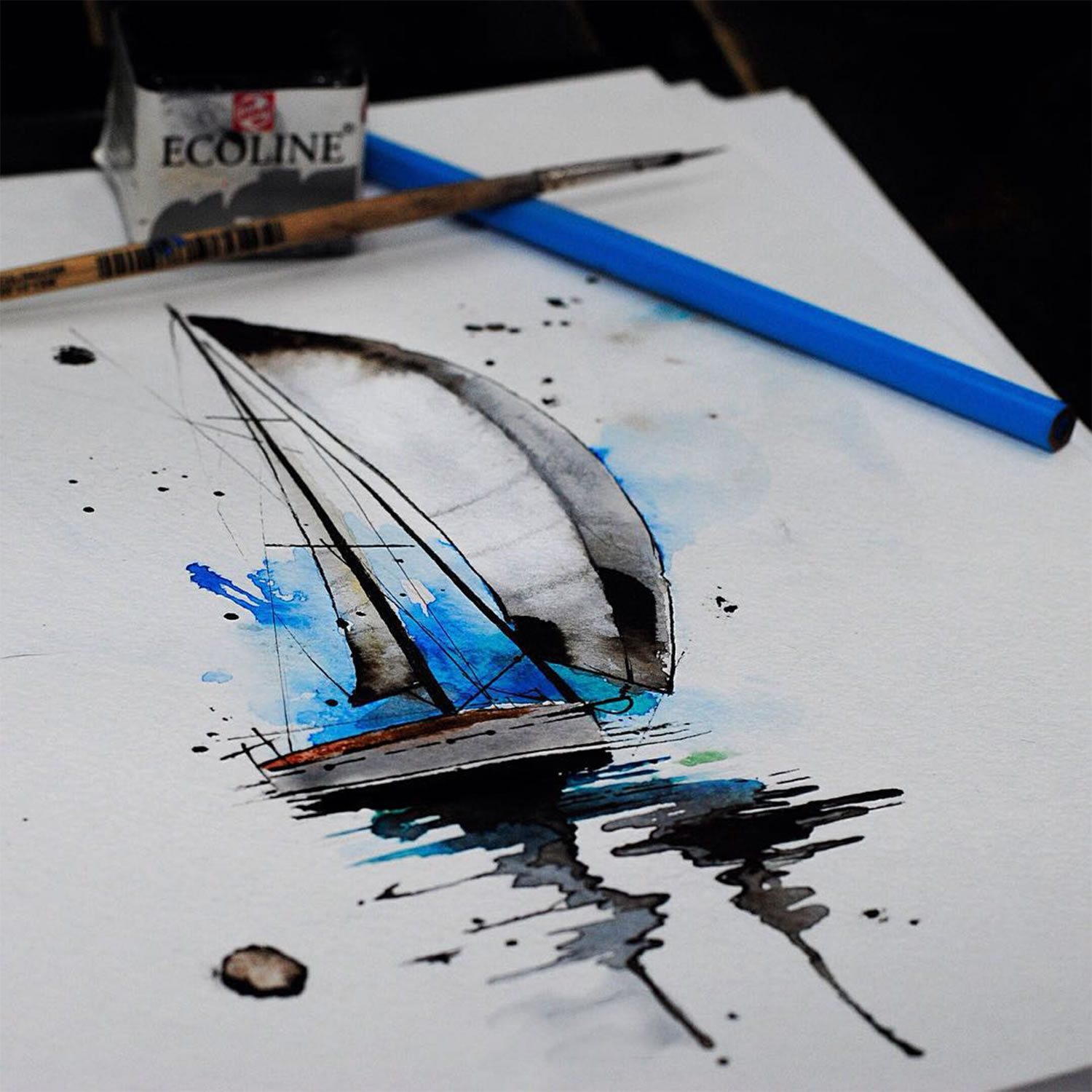 sail boat painting on paper