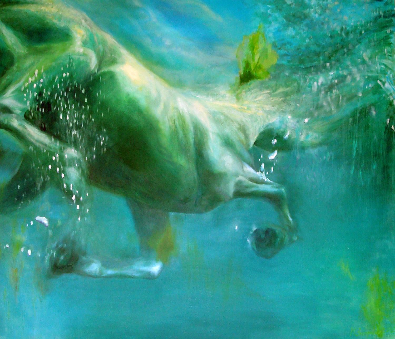 horse underwater, painting by Miroslava Zaharieva