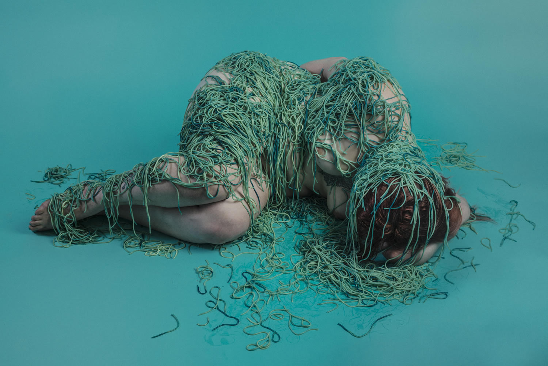 spaghettie wrap, turquoise background