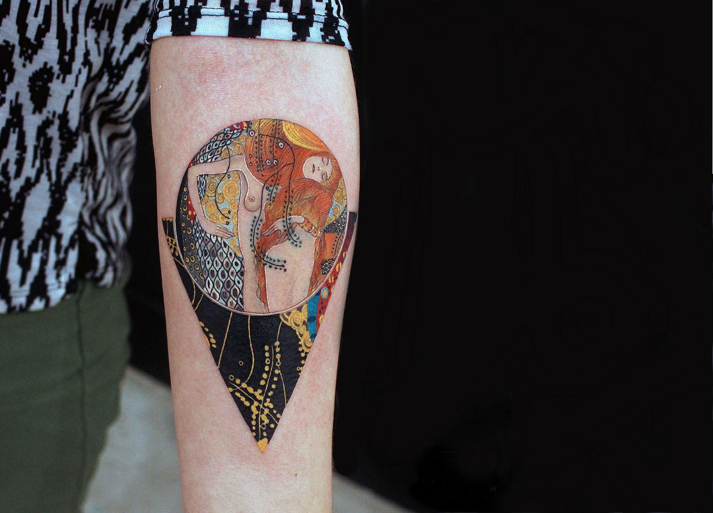 Gustav Klimt's Water Serpents tattoo by Alexey Buzunov