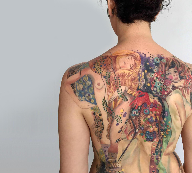 Gustav Klimt's Water Serpents tattoo by Amanda Wachob