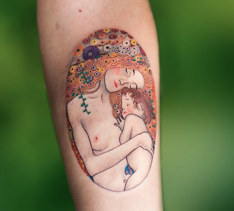 Gustav Klimt Three Ages of Woman tattoo by Guido Perrotta