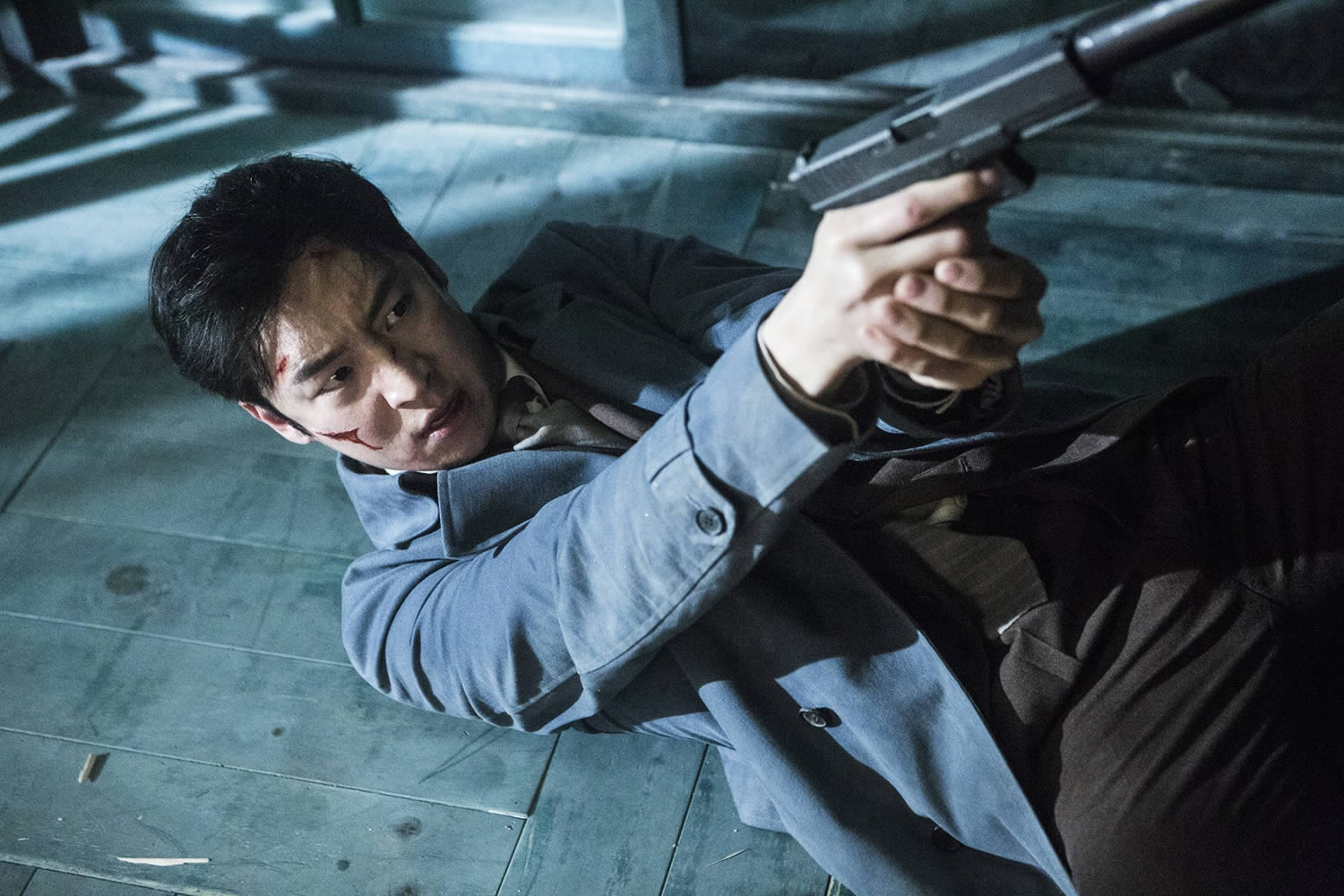 action-packed scene, man with gun, Phantom Detective