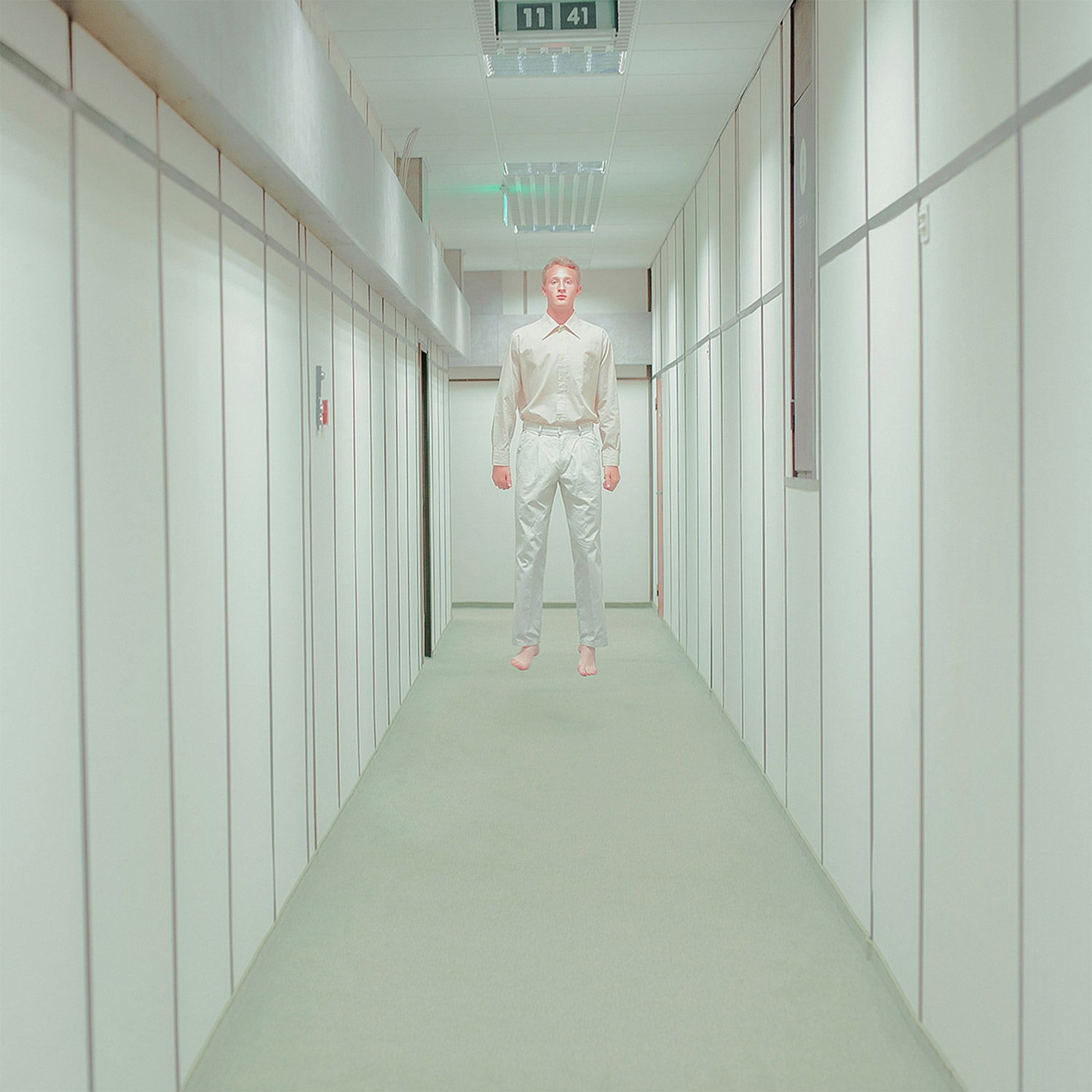 Maria Svarbova - Human Space, man floating in hallway