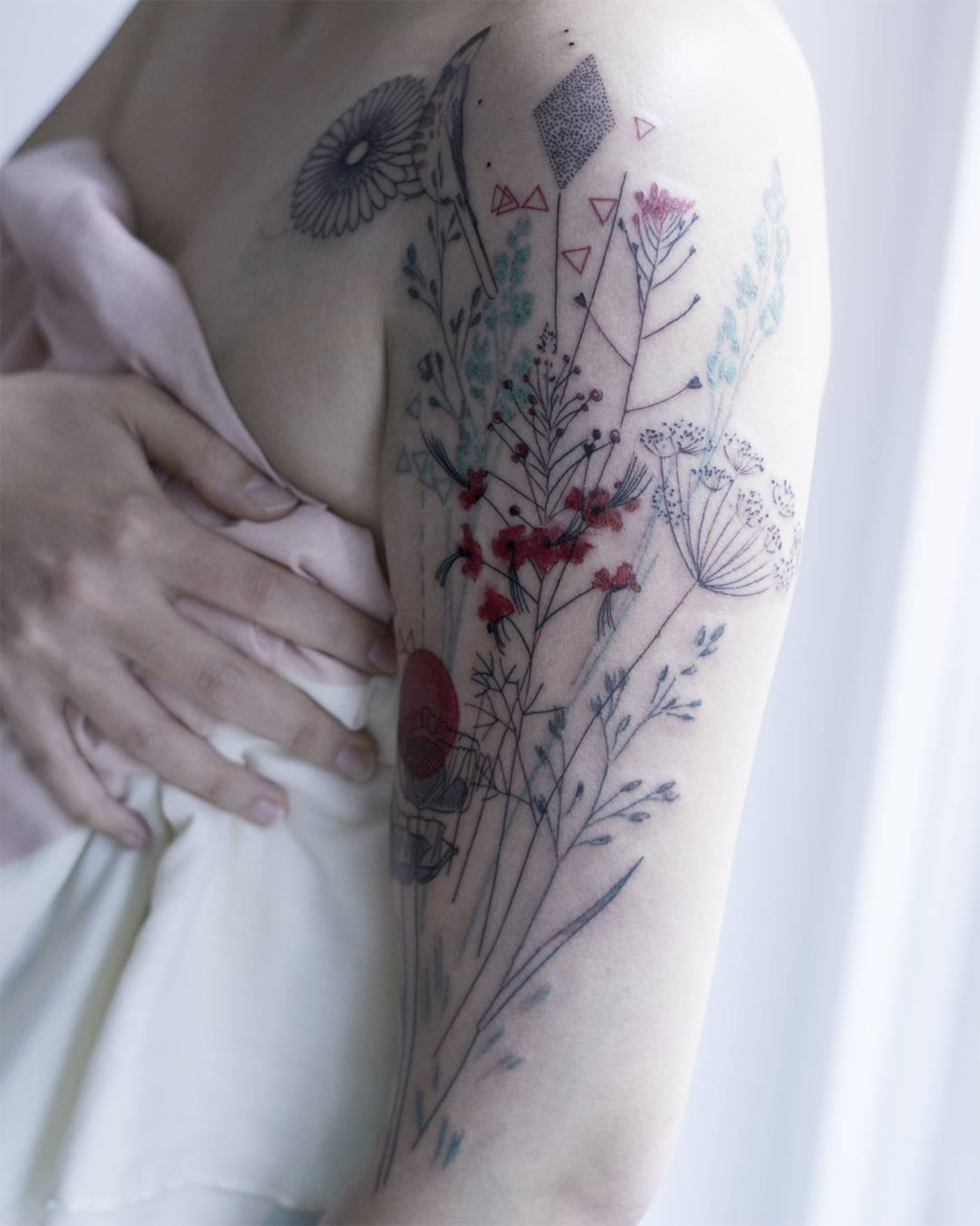 flower tattoo on arm, nature