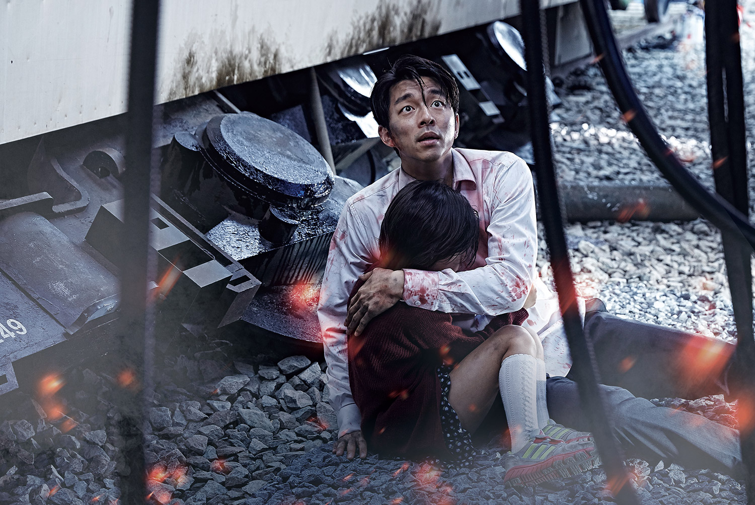 Post-Apocalyptic Movies - Train to Busan, holding child